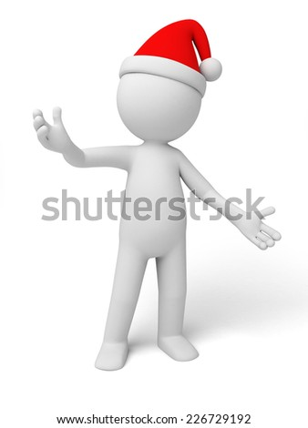 Santa Claus standing. Isolated white background.