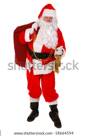 Santa Claus standing up on white background - stock photo