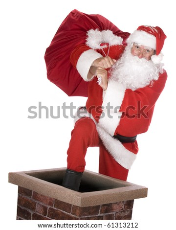 Santa Claus stepping into a chimney with his sack.  Isolated on white. - stock photo
