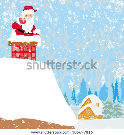Santa Claus stuck in the chimney - stock photo