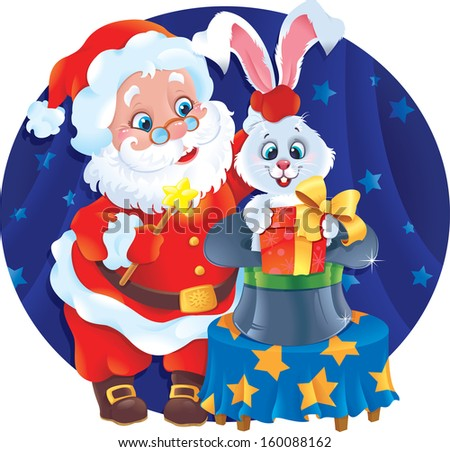 Santa Claus the Magician with a white Rabbit.  Greeting card with symbols of Christmas and New Year.  - stock photo