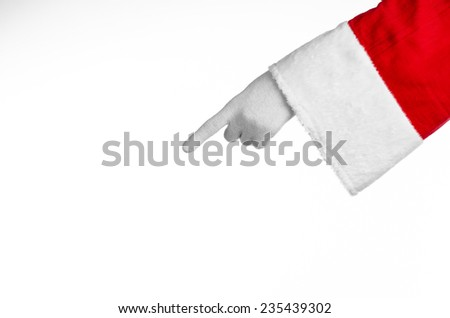 Santa Claus theme: Santa's hand showing gesture on a white background
