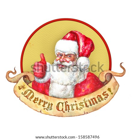 Santa Claus thumbs up sticker  - stock photo