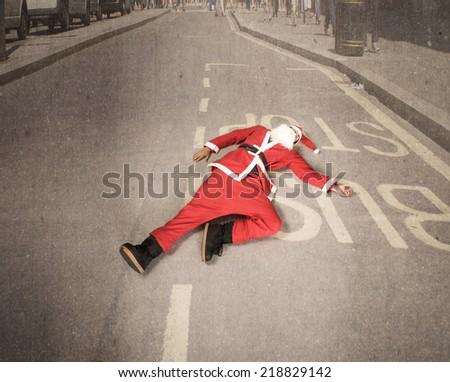 Santa Claus urban problem - stock photo
