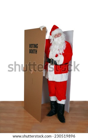 Santa Claus votes for who he wants in the latest Election. Voting and Voting Booths are a very important part of the democratic society and how government runs fairly and honestly for all.vote - stock photo