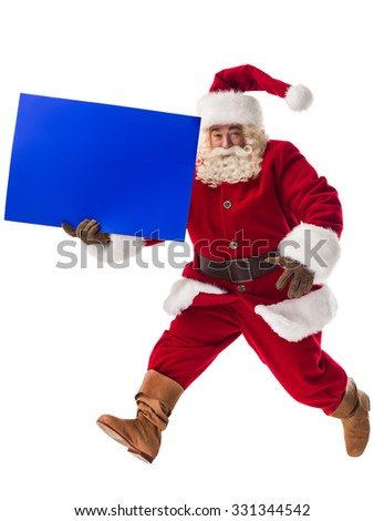 Santa Claus walking with blue blank sign Full Length Portrait. Isolated on White background - stock photo