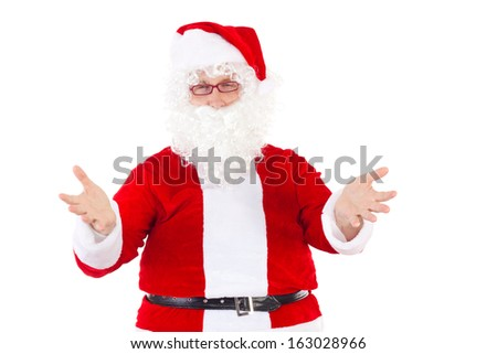 Santa Claus welcomes all nice children - stock photo