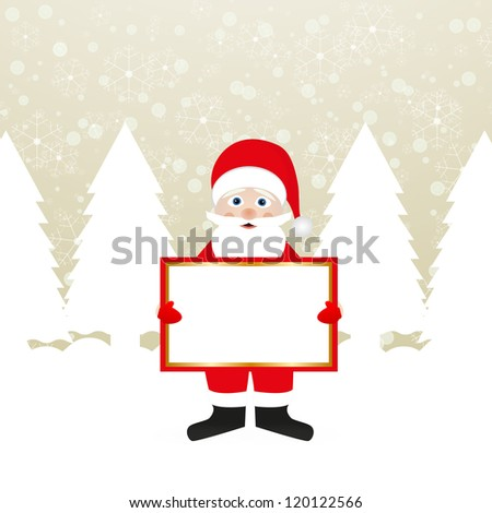 Santa Claus with a banner in the hands of a winter forest - stock photo