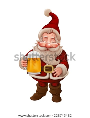 Santa Claus with a big mug of beer - stock photo