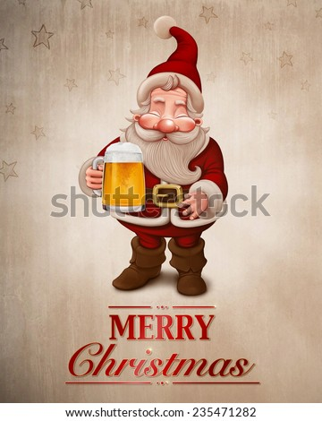 Santa Claus with a big mug of beer greeting card - stock photo