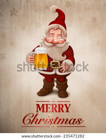 Santa Claus with a big mug of beer greeting card - stock photo