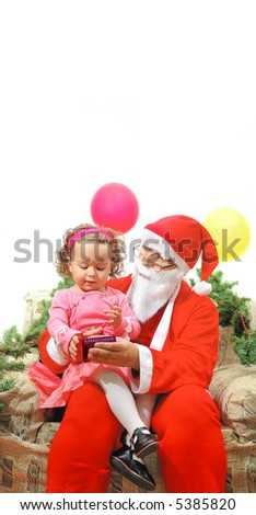 santa claus with a girl  with copy space  (1) - stock photo