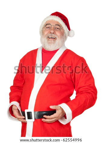 Santa Claus with a laugh isolated on white background - stock photo
