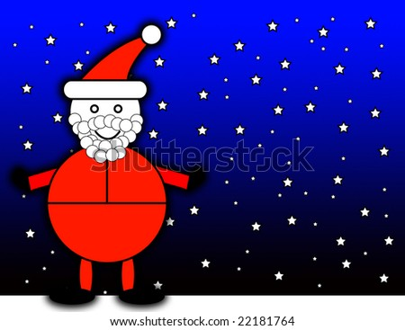 Santa Claus with a night time background.