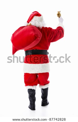 Santa Claus with a sack and a bell isolated - stock photo
