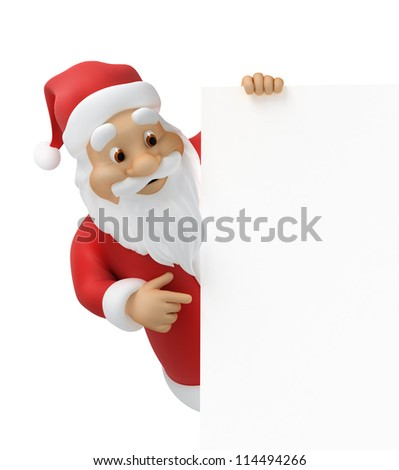 Santa claus with a sheet of paper, 3d illustration, work-path included - stock photo
