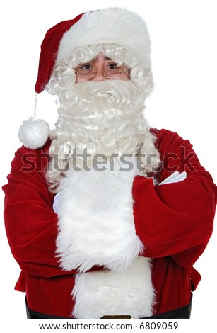 Santa Claus with arms crossed over white background