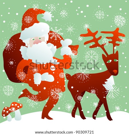 Santa Claus with bag full of Christmas gifts and reindeer in the snow - stock photo
