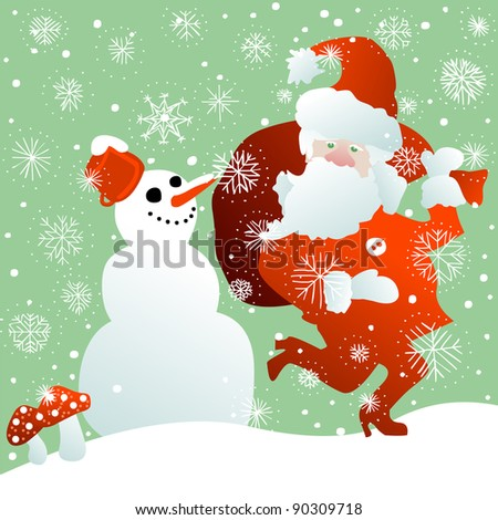 Santa Claus with bag full of Christmas gifts and snowman in the snow - stock photo