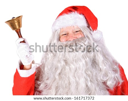 Santa Claus with bell on white background