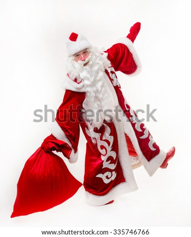 Santa Claus with big red bag on white background. Isolated - stock photo