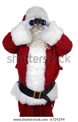 Santa Claus with binoculars over white background