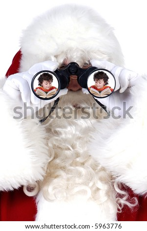 santa claus with binoculars watching children study  a over white background