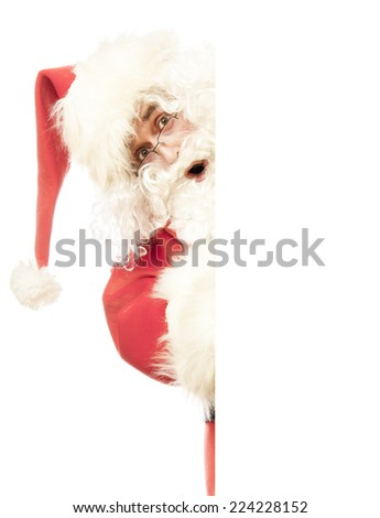 Santa Claus with blank white board - stock photo