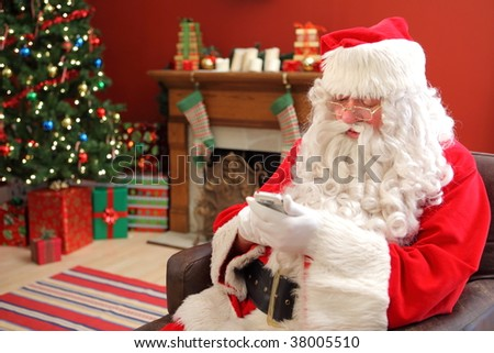 Santa Claus with cell phone