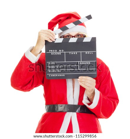Santa claus with clapperboard - stock photo