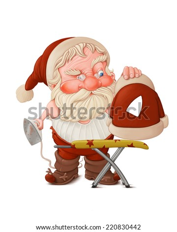Santa Claus with flatiron and the burned jacket - stock photo