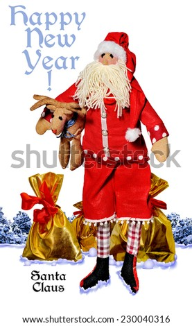 Santa Claus with gifts on the background of the winter forest.Happy New Year!  Merry Christmas.Doll. - stock photo