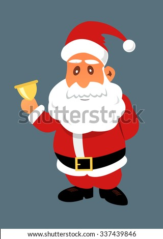 Santa Claus with golden bell. Christmas flat illustration.