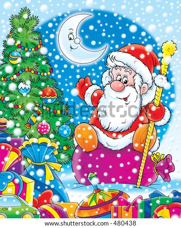 Santa Claus with his gifts and a decorated Christmas tree