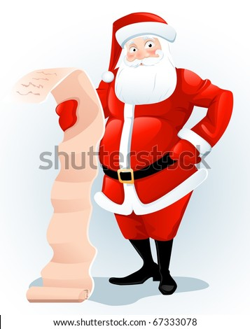Santa Claus  with letter - stock photo
