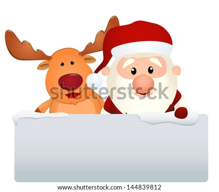 santa claus with reindeer and snowman in winter landscape - stock photo