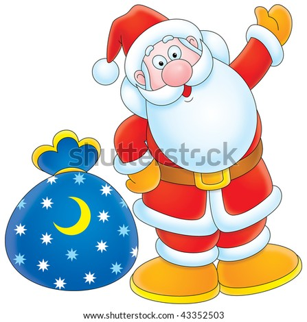 Santa Claus with sackful of Christmas presents