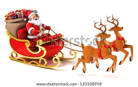 santa claus sledge deers christmas presents stock illustration 120108958 shutterstock - Santa Claus With Presents