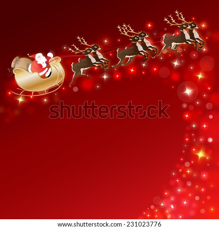 santa claus with sleigh and reindeer with glittering stars - stock photo