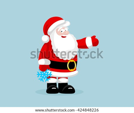 Santa Claus with snowflake presenting something - stock photo
