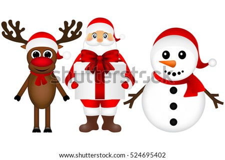 Santa Claus with snowman and reindeer cartoon with a gift