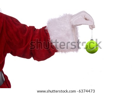 Santa Claus with tennis ball ornament in his white gloved hand - stock photo