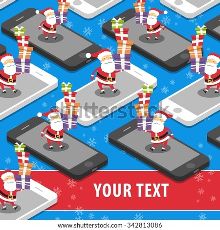 Santa Claus with xmas gifts on the smart phone flat design illustration place for text - stock photo