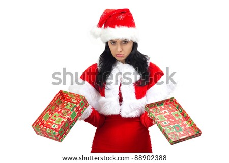 Santa Claus woman holding an opened gift box, isolated on white - stock photo