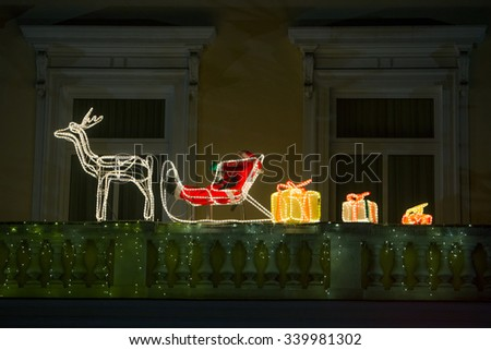 Santa Claus xMas light installation - stock photo