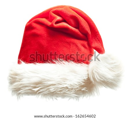 Santa Claus xmas red hat isolated on white background - stock photo