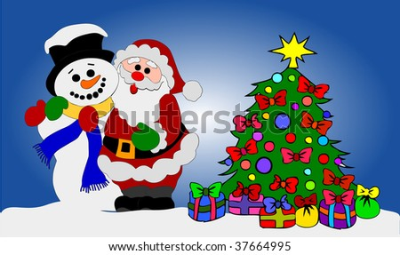 Santa Clause and Snowman with Christmas Tree