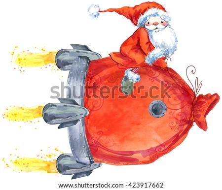 Santa Clause. Funny Santa. New Year Greeting Card. Christmas watercolor background. Cartoon Santa watercolor illustration. Delivery of New Year gifts. Santa's Sack.Christmas Delivery Service - stock photo