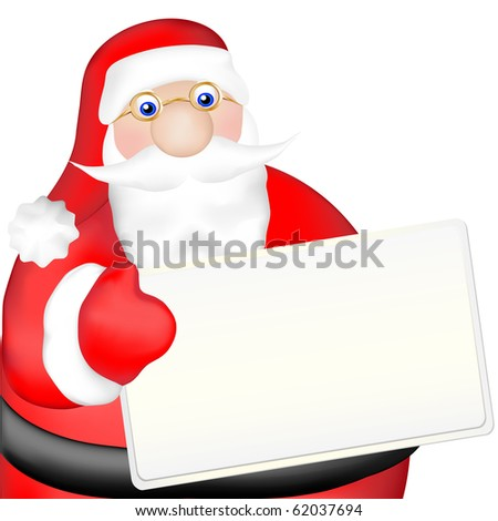 santa clause holding white board