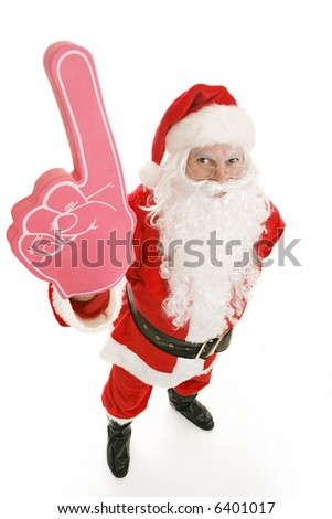 Santa Clause with a big rubber hand showing the number one.  Full body on white background. - stock photo